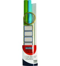 Marlin colour kraft combo pack:                                                                                                                                       2 x 1.5m colour kraft rolls, 2 x 1.5m polyrolls, 12 blue border lables & 1 clear tape