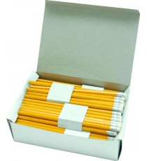 Yellow barrel rubber tipped pencils HB - 144 pencils per box