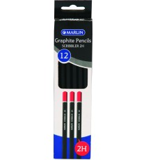 Marlin Graphite Pencils 2H endipped pencil black barrel 12's