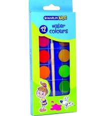 Marlin kids 12 water colours + brush in box