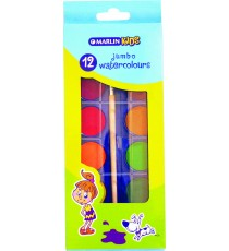 Marlin kids 12 jumbo water colours + brush in box