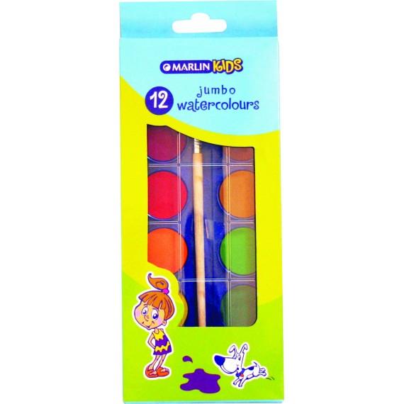 Marlin kids 12 jumbo water colours + brush in box