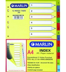 Marlin File divider/indexes 12 position printed 1-12