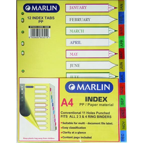 Marlin File divider/indexes - Jan. to Dec.
