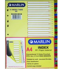 Marlin File divider/indexes - 1 to 31