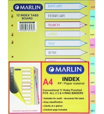 Marlin File divider/indexes - Jan. to Dec.