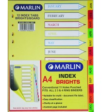 Marlin File divider/indexes - Jan to Dec