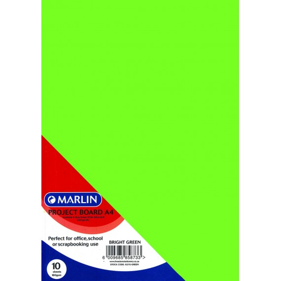 Marlin Project Boards A4 10's 160gsm Bright Green