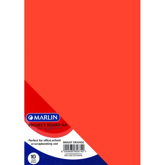 Marlin Project Boards A4 10's 160gsm Bright Orange