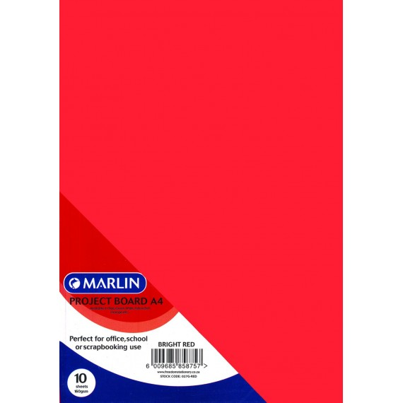 Marlin Project Boards A4 10's 160gsm Bright Red