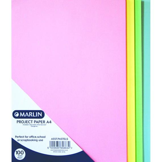 Marlin paper A4 80gsm 100's Pastel asst.