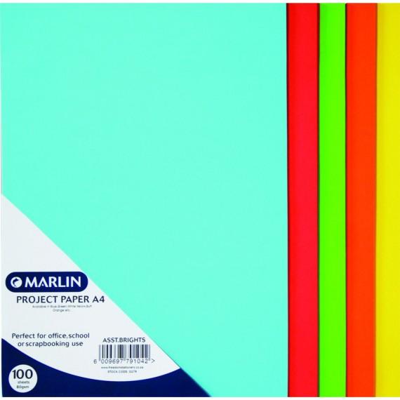 Marlin paper A4 80gsm 100's Bright asst.