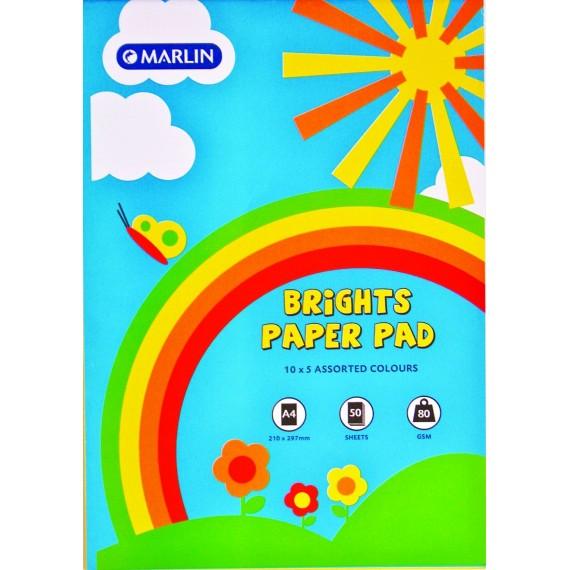 Marlin A4 paper pad 50 sheets 80gsm Bright asst.