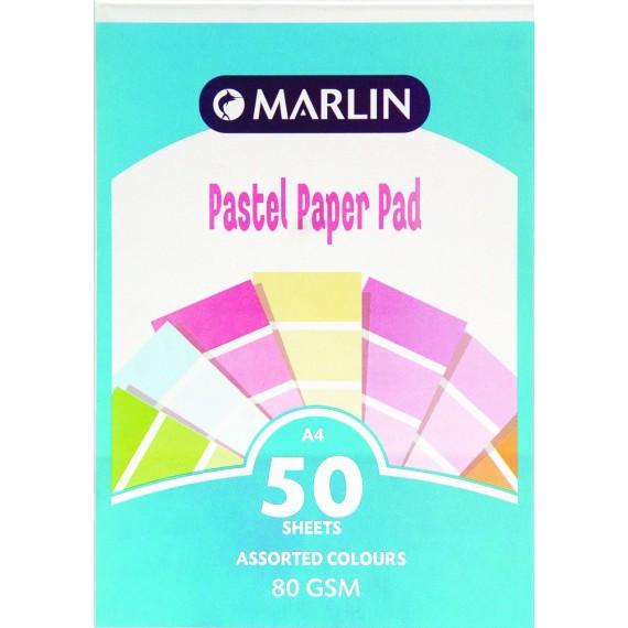 Marlin A4 paper pad 50 sheets 80gsm Pastel asst.