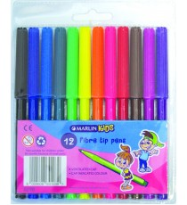 Marlin Kids fibre tip pens 12 colour