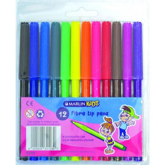 Marlin Kids fibre tip pens 12 colour