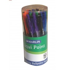Marlin Liqui Point retractable pens 25's blue