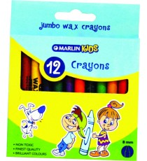 Marlin Kids wax crayons 8mm 12's