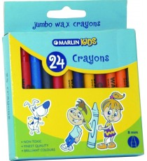 Marlin Kids  wax crayons 8mm 24's
