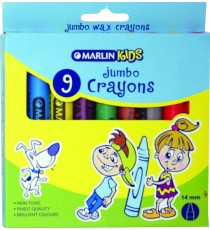 Marlin Kids jumbo wax crayons 14mm 9's