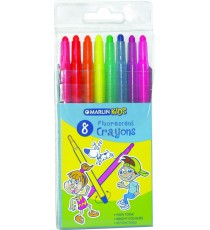 Marlin Kids retractable crayons 8 fluorescent colours