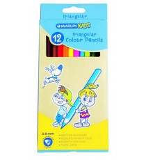 Marlin Kids colour pencils 12's long triangular