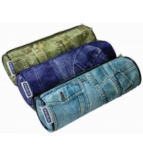 Marlin tube pencil bag 20cm - denim jeans style x 3