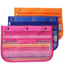 Marlin pencil bag 27 x 19cm - striped assorted Pink/Blue/Orange