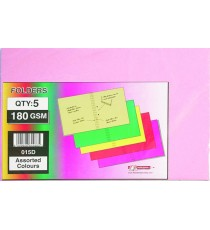 Flat files / folders Foolscap Tag 180g 5's assorted colours