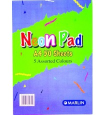 Marlin A4 paper pad 50 sheets 80gsm Fluorescent assorted