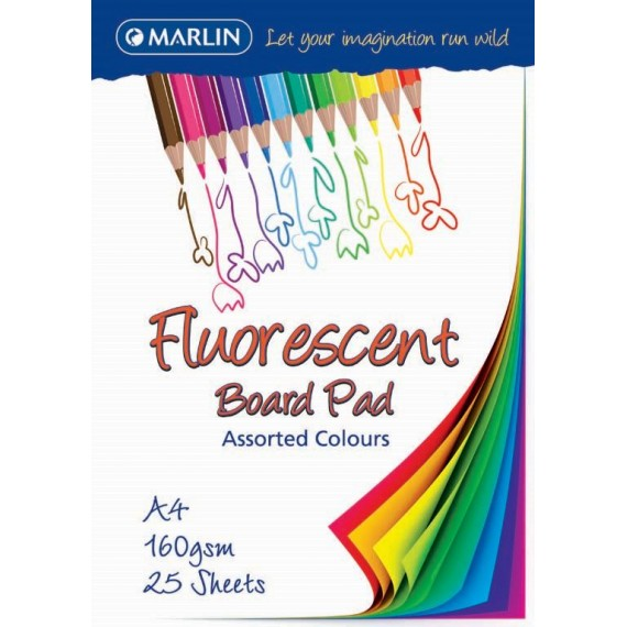 Marlin Project Board pad A4 25 sheets 200gsm assorted Fluorescent colours