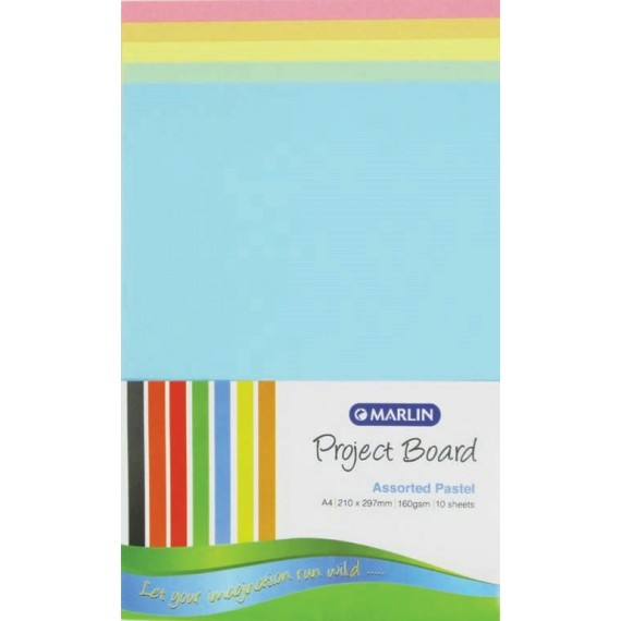 Marlin Project Boards A4 160gsm 10's Pastel assorted
