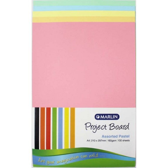 Marlin Project Boards A4 160gsm 100's Pastel assorted