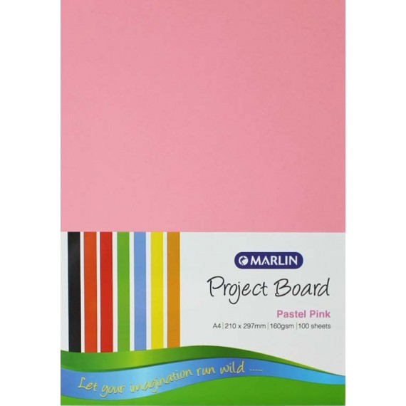 Marlin Project Boards A4 160gsm 100's Pastel Pink