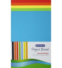Marlin Project Boards A4 160gsm 50's Bright assorted
