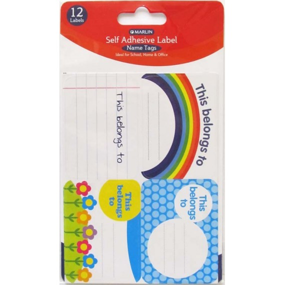 Marlin self adhesive Name Tags 12's - 4 assorted styles