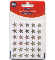 Marlin self adhesive labels - 180 Silver stars