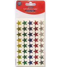 Marlin self adhesive labels - 240 x 5 colour stars Gold, Silver, Red, Blue, Green