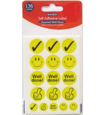 "Marlin self adhesive labels - 136 assorted ""WELL DONE"" stickers"