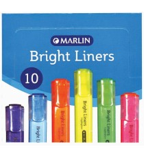 Marlin Bright Liners Highlighter 10's Yellow