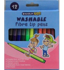Marlin Kids washable fibre tip pens 12's
