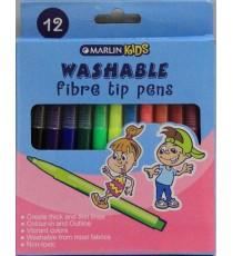 Marlin Kids washable fibre tip pens 12's