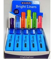 Marlin Bright Liners Highlighter 10's Blue