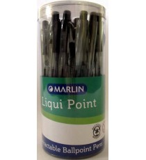 Marlin Liqui Point retractable pens 25's Black