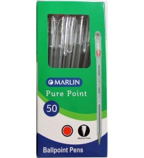Marlin Pure Point transparent medium pens 50's Red