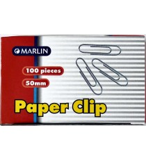 Marlin Silver paper clips 50mm 100's
