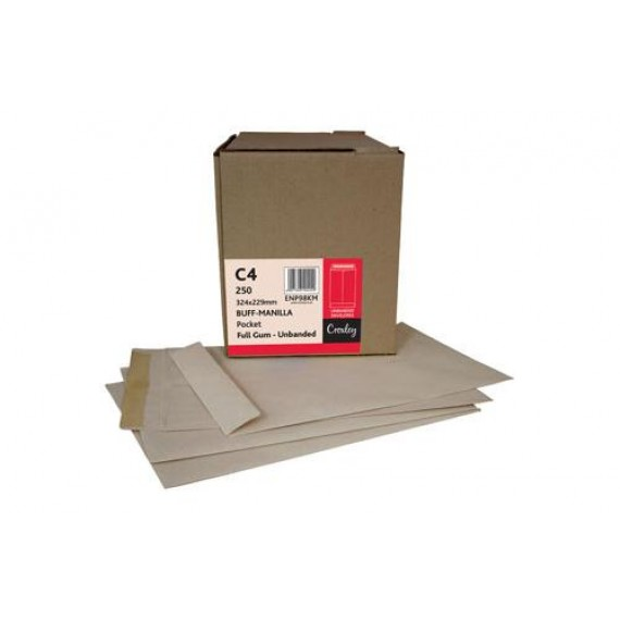 C4 CROXLEY BROWN GUMMED UNBANDED (KINGSTONE)  ,BOX-250