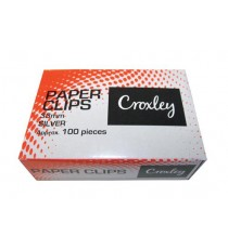 CROXLEY 33MM SILVER PAPER CLIPS 10 BOXES x 100s