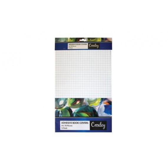 CROXLEY COVER CLEAR PRE CUT, A4 SELF ADHESIVE BOOK COVERS - 5PK - 40MICRON (NEW)