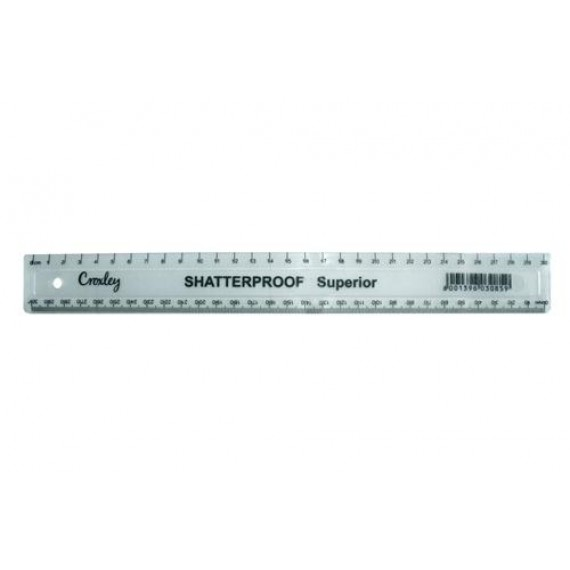 CROXLEY RULER 30CM CLEAR SUPERIOR SHATTER PROOF PK10